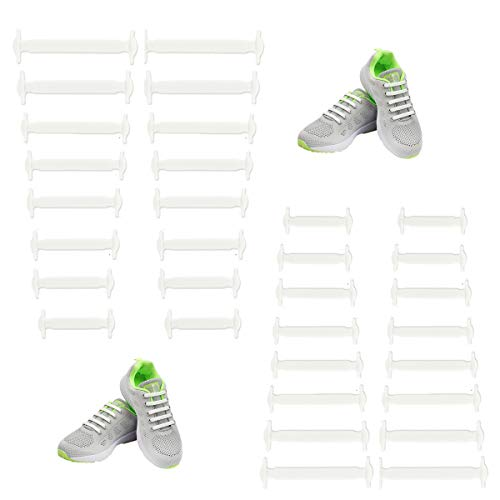 No Tie Shoe Laces for Adults White Shoe Laces for Sneakers,Elastic Tie Free Laceless Silicone Rubber Lock Shoe Strings Multipack(2 White)