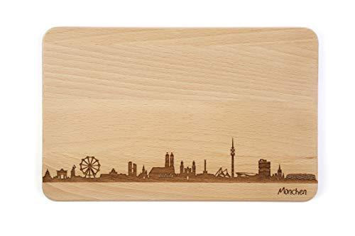 Brotzeitbrett München Skyline | Frühstücksbrettchen aus Buche | Holz Schneidbrett | Geschenk mit Gravur | Bayern | Frühstücksbrett (Standard S (22x14x1cm), 1. ohne persönlicher Gravur)