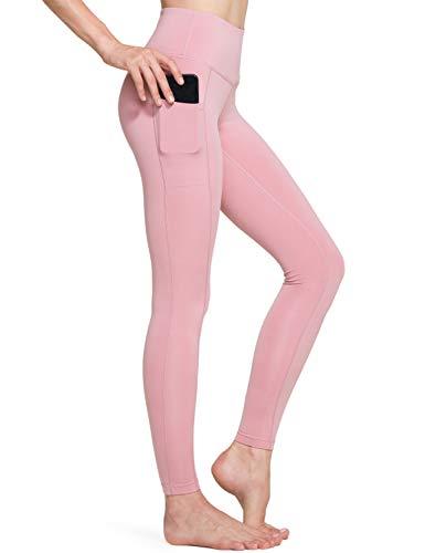TSLA Yoga Leggings mit Bauch-Kontrolle und hoher Taille Workout Pants mit Tasche für Damen, Fgp54 1pack - Pink Beige, M