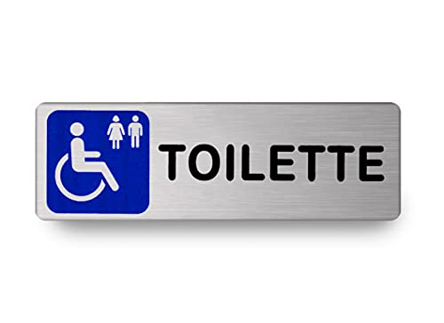 Nitek Targa Toilette disabili in Alluminio Satinato 150 x 50mm - Targhette Autoadesive  Stickers, Klebeetikett  Impermeabili Lavabili, Scuola, Pub