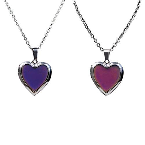 Amosfun 2 Piezas Collares Colgantes de Corazón Collares de Humor Collar de Cambio de Color con Detección de Temperatura para Mujeres Niñas Damas (Color Aleatorio)