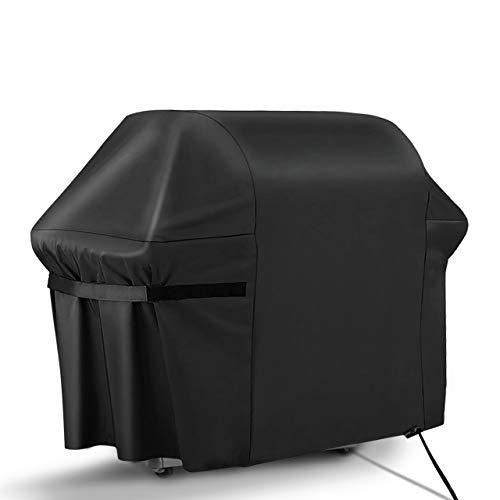 RATEL Grill Abdeckhaube, Schwerlast 420D Oxford-Stoff Grillabdeckung wasserdicht & Staubdicht & Anti-UV BBQ Cover mit Selbstklebende Gurte und Aufbewahrungstasche(163x61x122cm)