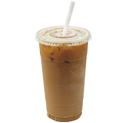 [50 Pack] 32 oz BPA Free Clear Plastic Cups With Flat Slotted Lids for Iced Cold Drinks Coffee Tea...