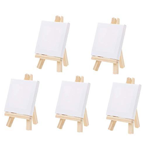 5 Piezas Mini Lienzo De Caballetes,Caballete Portatil Con Mini Lienzos, Mini Tripode Pintura Madera Con Lienzo En Blanco Caballete Para Pintar Para Pinturas Al ÓLeo, Manualidades De Mesa