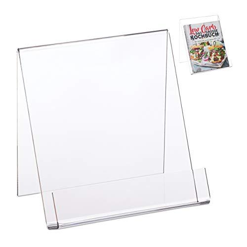 Relaxdays Atril Libros Grande A5, Soporte Lectura Cocina, Ligero y Resistente, Acrílico, 15 x 15 x 11,5 cm, Transparente, 15 x 15 x 11.5 cm