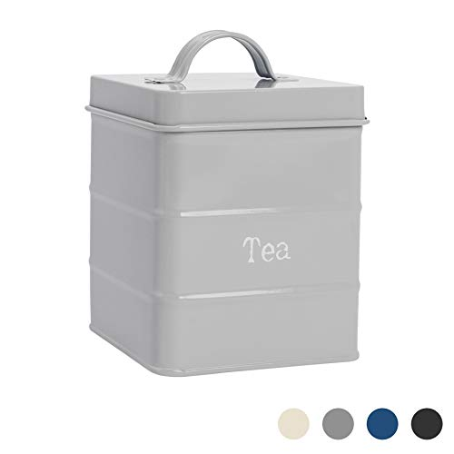 Harbour Housewares Boîte à thé métallique - Style Vintage/pour Cuisine - Gris