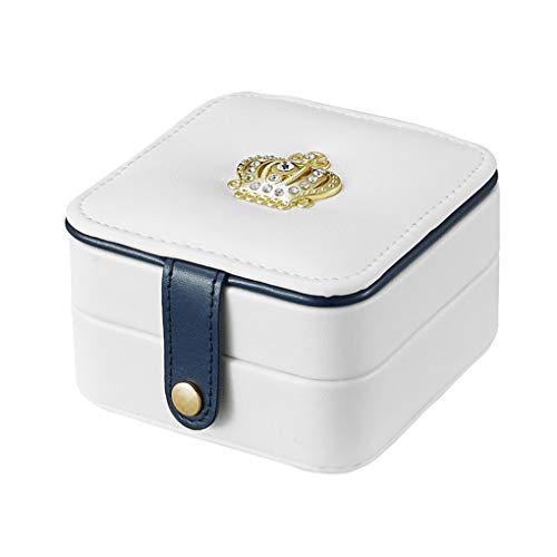 Rolin Roly Portable Travel Jewelry Box with Mirror Leather Jewelry Organizer Storage Case with Button Small Jewelry Display Case for Women (White)