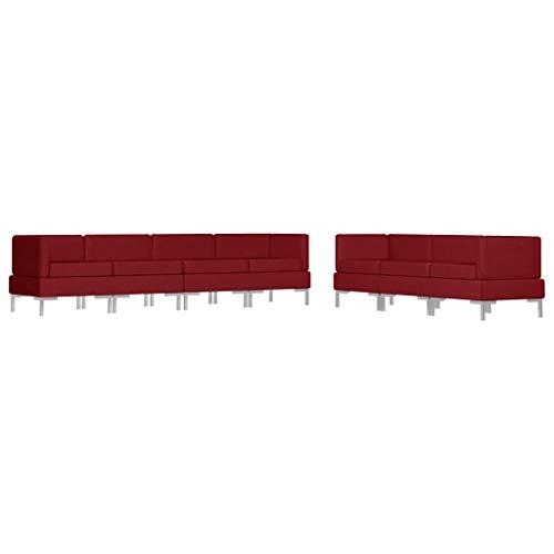 vidaXL Sofagarnitur 7-TLG. Stoffsofa Couch Loungesofa Sofa Polstersofa Couchgarnitur Polstergarnitur Sitzmöbel Ecksofa Mittelsofa Stoff Weinrot