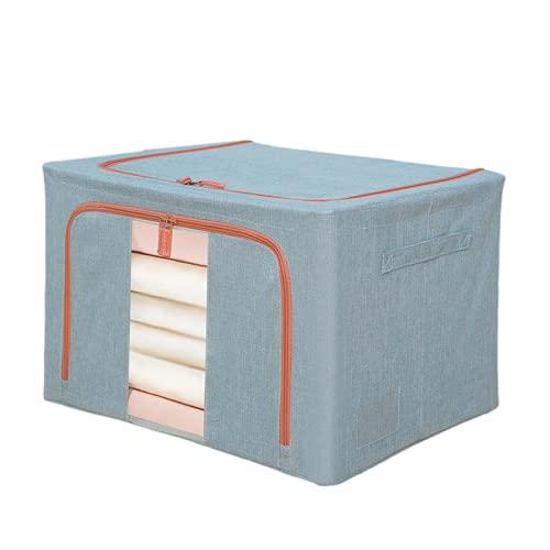 Casa de tela con ventana caja de almacenamiento plegable marco de acero caja de edredón ropa de almacenamiento de juguete acabado algodón lino caja de almacenamiento