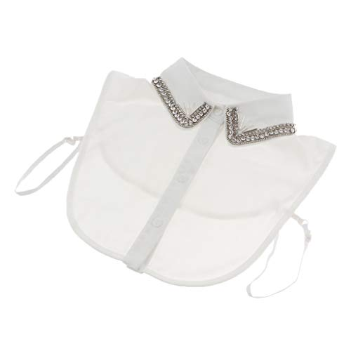 SM SunniMix Cuello Falso de Algodón Floral con Diamantes Artificiales Mitad Blusa para Vestido Suéter Abrigo - Blanco 1