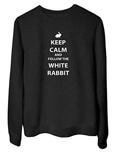 Sudadera para Las Mujeras Negro FUN3841 tee Shirt Gris Keep Calm AMD Follow The White Rabbit