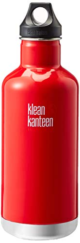 Klean Kanteen Classic Stainless Steel Double Wall Insulated Water Bottle with Loop Cap, 32-Ounce, Mineral Red