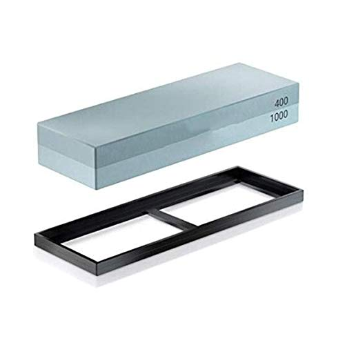 XFF Messerschärfer, Qualitäts-Siliciumcarbid Whetstone 400 1000 Mesh-fein Gemahlen Double Sided Stein 180 * 60 * 30 Mit Anti-Rutsch-Rahmen