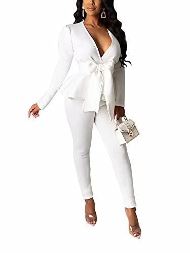Remelon Pants and Blazer Set for Women Long Sleeve Ruffle Hem Peplum Blazer with Bodycon Long Pants 2 Piece Outfits White