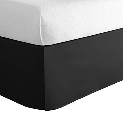 Lux Hotel Microfiber Tailored Bed Skirt with Classic 14 Inch Drop Length Pleated Styling, Queen, Black
