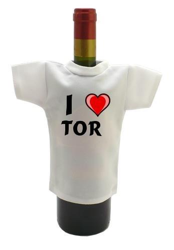 Weinflasche T-shirt mit Aufschrift Ich liebe Tor (Vorname/Zuname/Spitzname)