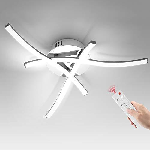 Wayrank LED Deckenleuchte Dimmbar, Moderne Deckenlampe LED mit Speicherfunktion und Fernbedienung, 3 Flammig Lampen für Wohnzimmer Schlafzimmer Flur Büro Küche, 3000K-6000K