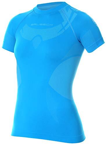 BRUBECK SS11960 - Maglietta funzionale da donna, a maniche corte, per sport, attività all'aperto, corsa, allenamento, escursionismo, colore: nero, Donna, blu, L