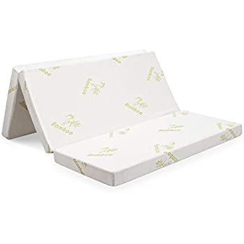 "Giantex 4"" Folding Mattress Convertible Tri-fold High-Density Foam Mattress w/Washable Bamboo Cover Portable Sofa Bed Play Mat for Office Dorm Home  Queen"