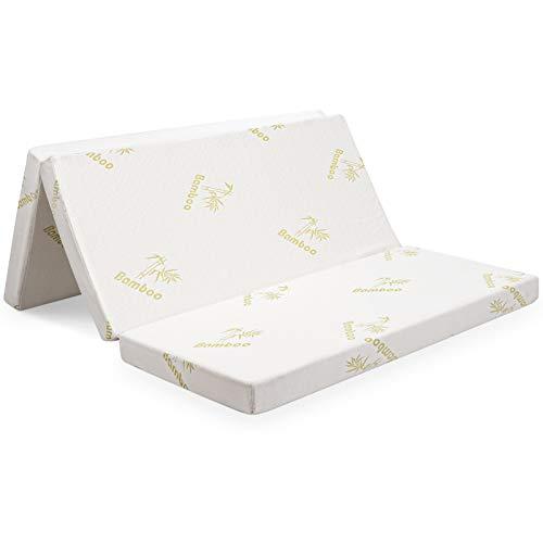 "Giantex 4"" Folding Mattress, Convertible Tri-fold High-Density Foam Mattress w/Washable Bamboo Cover, Portable Sofa Bed Play Mat for Office Dorm Home (Queen)"