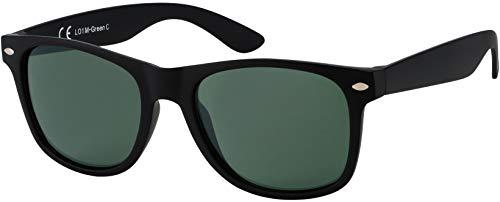 Sonnenbrille Herren Damen La Optica UV 400 CAT 3 CE Nerd - Einzelpack Matt Schwarz (Gläser: Grün)