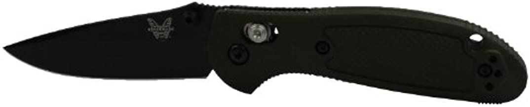 Benchmade - Mini Griptilian 556 EDC Manual Open Folding Knife Made in USA, Drop-Point Blade, Plain Edge, Coated Finish, Olive Handle