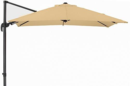 Schneider Premium Sonnenschirm Ampelschirm Rhodos Twist eco, Natur, ca. 270 x 270 cm, 8-teilig, quadratisch