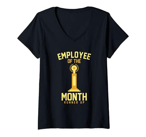 Mujer Empleado del Mes Runner Up Funny Job Trophy Camiseta Cuello V