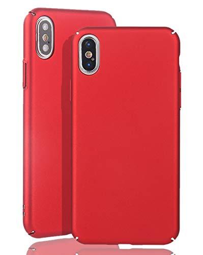 inv [ Compatible con iPhone XS Max – 6,5 pulgadas, carcasa rígida ultrafina – color rojo – mate – ligero – sin logotipo