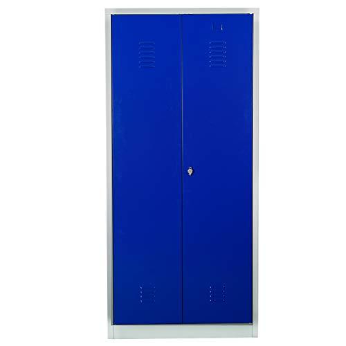 Certeo Putzmittelschrank | HxBxT 180 x 80 x 50 cm | Vorhängeschloss | Grau-Blau | Putzmittelspind Spind Umkleideschrank Umkleidespind Umkleide