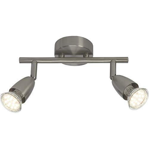 Brilliant Amalfi LED Spotrohr 2 flg Deckenstrahler schwenkbar eisen 500 Lumen, 2x GU10 3W LED-Reflektorlampen inklusive