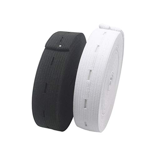 HYHP 2 Packs Elastic Bands Spool Sewing Bands, Elastic Cord with Buttonhole (White and Black)