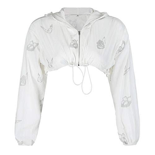 Dames Hoodies Mode Zip-Up Slim Crop Jacket Vlinder Gedrukt Jasje Reflecterende Sportkleding Hoodie Oversized Casual Korte Jas