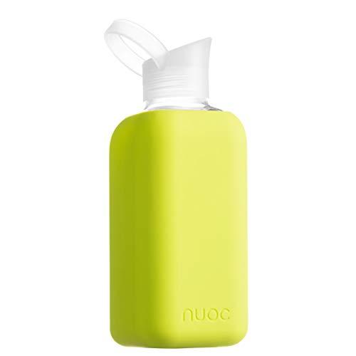 NUOC   Botella de agua cristal   800 ml   Verde Lima   Botella de Agua Reutilizable   Botella de Cristal   Funda de Silicona   Bebidas Frías y Calientes   sin BPA   Ecológica   Deporte, Oficina, Yoga