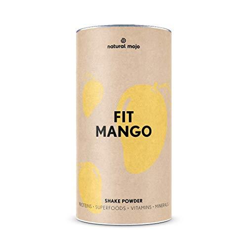Natural Mojo Fit Mango – Fit Shake (500 g) – Shake mit wertvollen Superfoods – leckerer Drink aus leicht löslichem Eiweißpulver – mit Mango-Geschmack