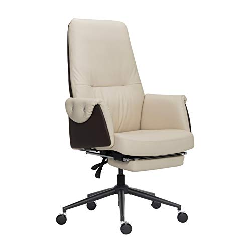 Leather Executive Chair Adjustable Reclining Swivel Office Desk Chair with Hidden Footrest Padded Armrest 350lbs Load-Bearing Strong Iron Frame Ergonomic High Back Master Computer Desk Chair – Beige