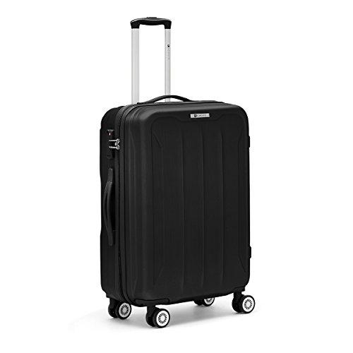 R Roncato Trolley Grande Rigido Ultraleggero Serie Flight in ABS 100% per Viaggi e Vacanze, Colore Nero
