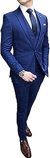 UMISS Men's 3 Piece Suit One Button Peak Lapel Business Wedding Prom Tuxedo Jacket Tux Vest & Trousers