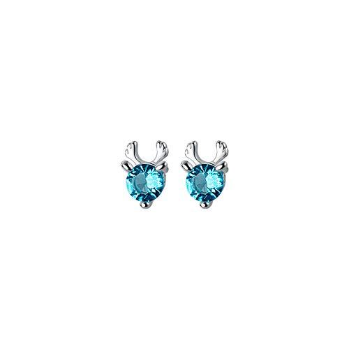 HUYV Pendientes para Mujer,Moda Azul Diamantes De Imitación Astas 925 Pendientes De Plata para Regalo De Joyería De Cumpleaños De Navidad Hombres Niñas