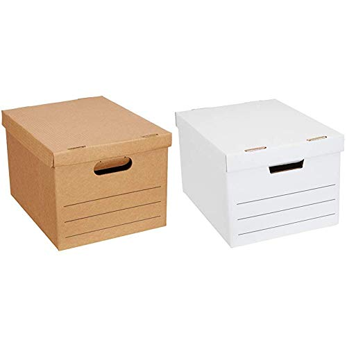 """Amazon Basics Moving Boxes with Lid and Handles - 15"""" x 10"""" x 12"""", Small, 20-Pack & Heavy Duty Storage Filing Box with Lift-Off Lid - Pack of 12, Letter / Legal Size"""