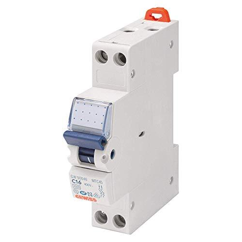Gewiss GW90027 Interruttore Magnetotermico 16A, 1P+N, 4,5KA, Automatico