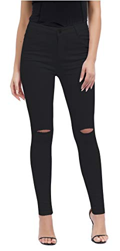 Women's Casual Ripped Holes Skinny Jeans Jeggings Straight Fit Denim Pants (US 16, Black 2)