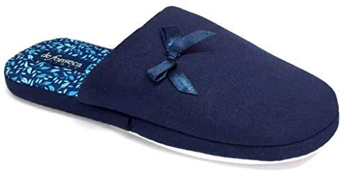 de fonseca Ciabatte Pantofole Cotone da Donna MOD. Roma Top E W609 Blu (Numeric_40)