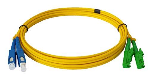 Cable de fibra óptica LWL, 15 m, OS2 amarillo, E2000/APC a SC/UPC,...