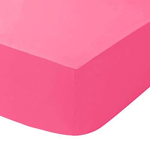 SaSa CRAZE Best Quality100% Cotton 40CM/ 16' Extra Deep Fitted Sheets (Single, Fuchsia)