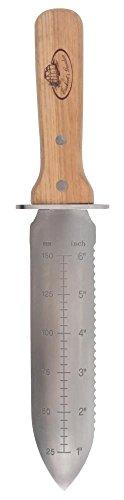 Esschert Design Hori Hori pflanz Couteau & Fourreau en Acier Inoxydable en Bois de frêne Polyester, 8,2x 3,0x 32,2cm