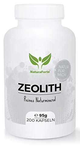 NaturaForte Zeolith Kapseln 200 Stück - Klinoptilolith 95%, Extra fein gemahlen in Premium Qualität, ohne Zusätze, Reines & naturbelassenes Vulkangestein, geprüft und kontrolliert in Deutschland