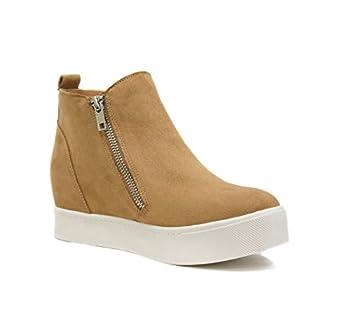 Soda Taylor Hidden Fahsion Wedge Sneaker Shoes Side Zipper Tan  7