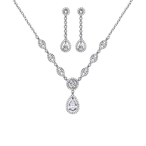 Gulicx - Set di gioielli con orecchini e pendente, placcati in argento con zircone cubico AAA, da donna., ottone, colore: white, cod. AT01c