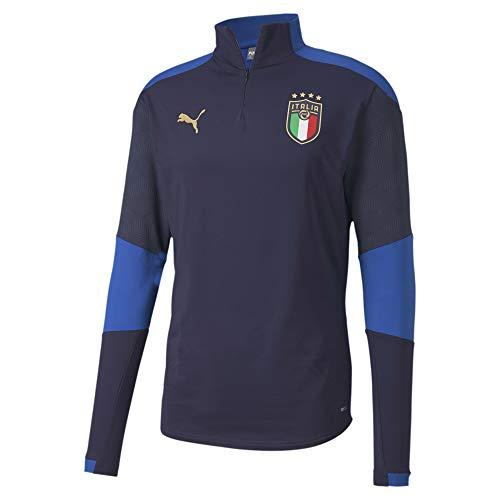 PUMA FIGC Training 1/4 Zip Top, Felpa Uomo, Peacoat/Team Power Blue, M